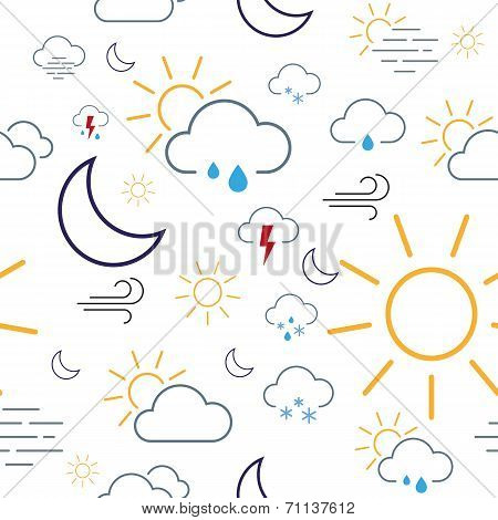 Weather Icon Seamless Pattern Tile