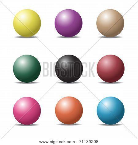 Set Of Colorful Ball Glossy Spheres On White. Vector Illustration For Design.