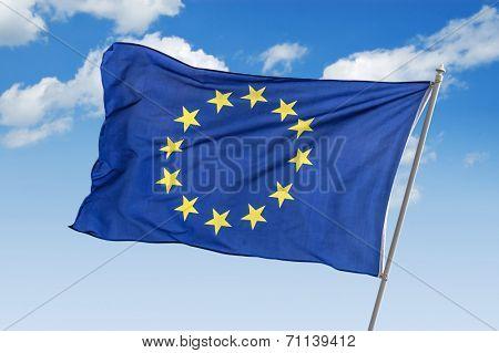 flag of europe union closeup