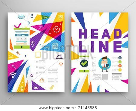 Abstract Triangle Geometric Vector Brochure Template. Flyer Layout. Flat Style. Infographic Elements. Tablet PC. Mobile Technology