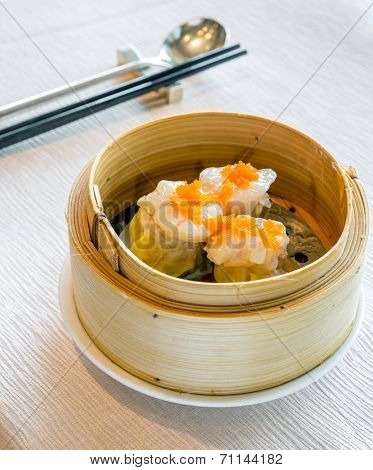 Dim Sum in Bamboo Steamed Bowl