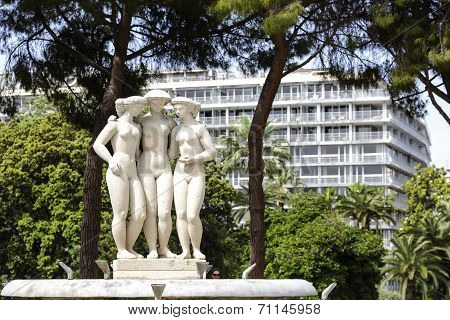 Fountain Of The Three Graces In Nice