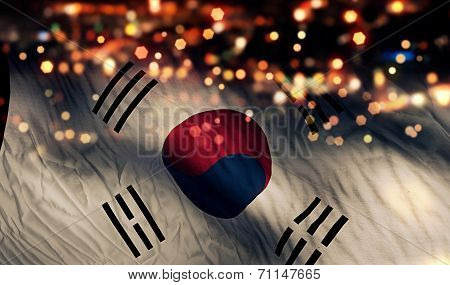 South Korea National Flag Light Night Bokeh Abstract Background