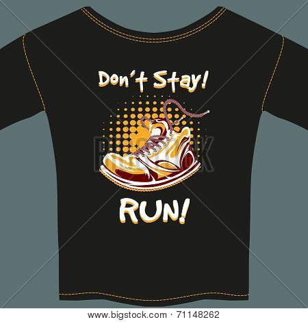 Vector Shoe Design on Black T-Shirt