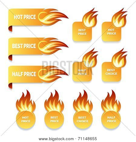 gold price and sale icons with flames of fire