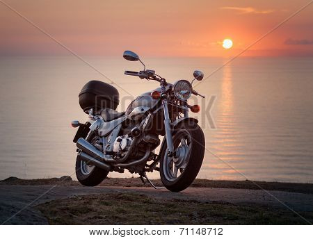 Ferrol, Spain - August 03 Motorcycle Kymco Venox 250 Photographed In A Sunset, In Ferrol, Spain, On