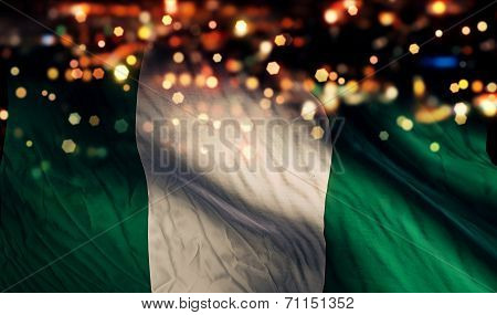 Nigeria National Flag Light Night Bokeh Abstract Background
