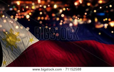 Philippines National Flag Light Night Bokeh Abstract Background