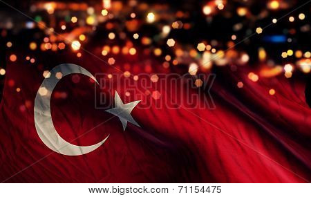 Turkey National Flag Light Night Bokeh Abstract Background