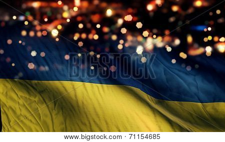 Ukraine National Flag Light Night Bokeh Abstract Background
