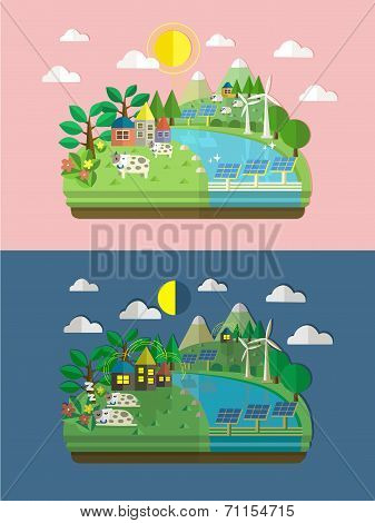Flat Design For Ecology And Green Energy