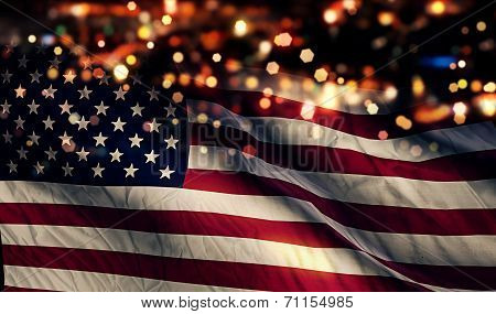 Usa America National Flag Light Night Bokeh Abstract Background