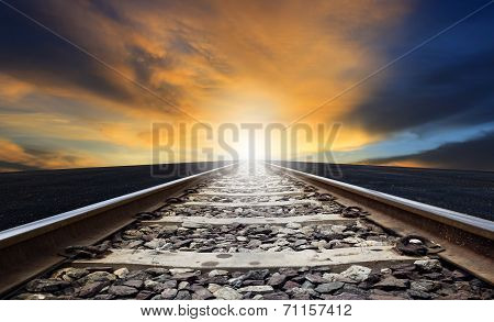 Perspective Of Rail Way Against Beautiful Dusky Sky Use For Land Transportation And Transport Indust