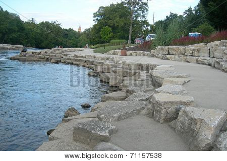 Stone riverbank access