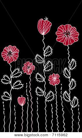 Black border with poppies