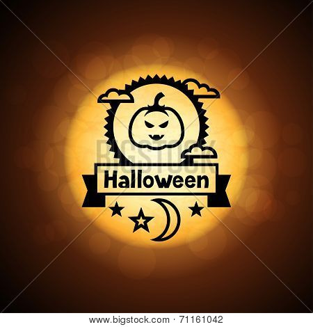 Happy halloween greeting card on background of moon.
