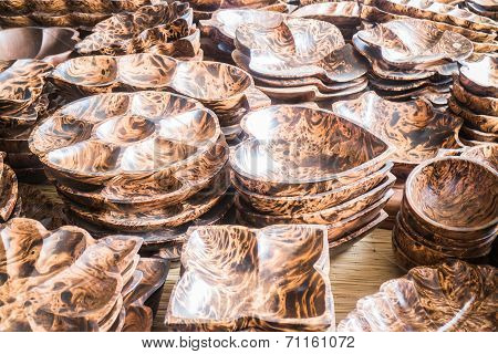 Variety Shape Of Handmade Wooden Dishware