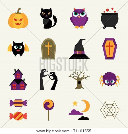 Happy halloween icon set in flat design style.