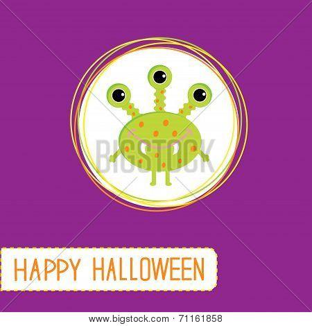 Cute Cartoon Green Monster. Violet Background. Happy Halloween C