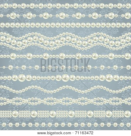pearl realistic borders set collection isolated on grey blue floral damask background