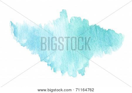 ?olorful Bright  Blue Watercolor Stain With Aquarelle Paint Blotch Isolated Over White Background