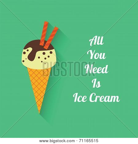 Flat Style With Shadow, Ice Cream Vector Icon Illustration