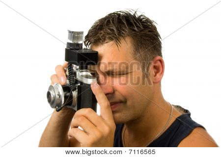Man With Old Fashioned Photo Camera