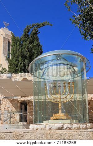Large gold-plated menorah. Exhibited in Jerusalem in a huge glass cover