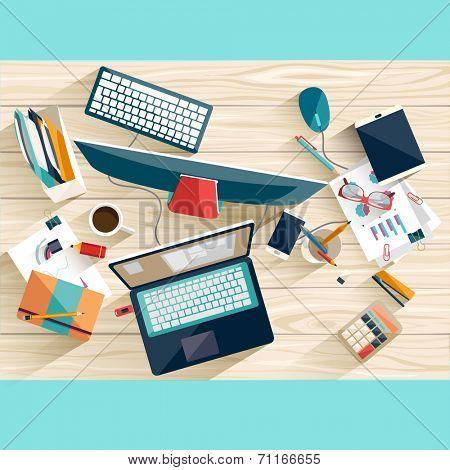 Workplace concept. Flat design