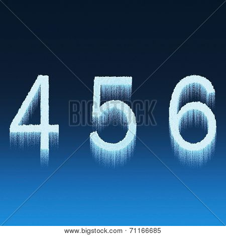 Icing Alphabet Digit Number 4 5 6 Four, Five, Six Isolated On Blue