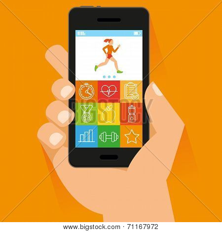 Vector Mobile Phone And Hand In Flat Style