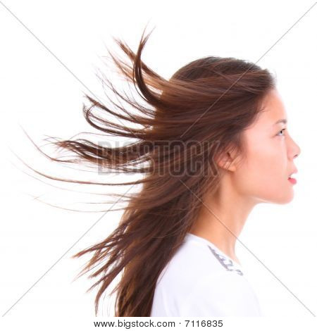 Profile Of Woman In Wind Isolated