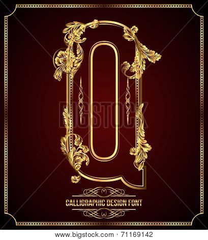 Calligraphic Design Font with Typographic Floral Elements. Premium design elements on dark background. Page Decoration. Retro Vector Gold Letter Q