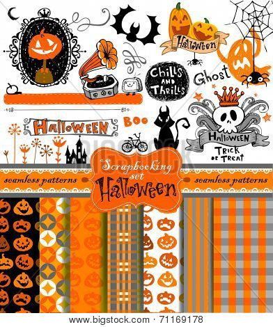 Halloween vintage objects - scrapbook collection. 7 seamless backgrounds. vector illustration