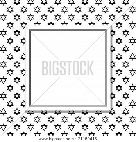 Black And White Star Of David Patterned Background With Frame