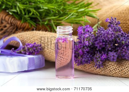Natural Handmade Lavender Liquid Soap And Solid Soap With Fresh Lavender Flowers, On Sackcloth