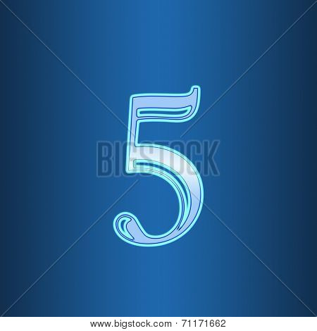Glowing Neon Number On Blue Background. Letter 5 Five