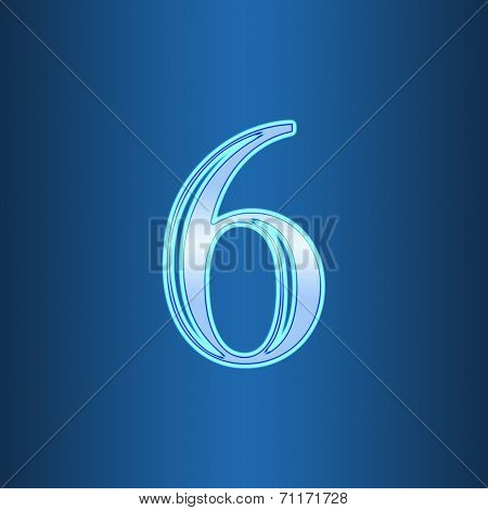 Glowing Neon Number On Blue Background. Letter 6 Six