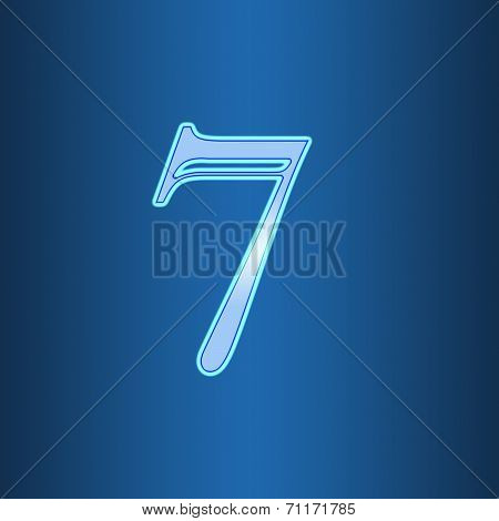 Glowing Neon Number On Blue Background. Letter 7 Seven