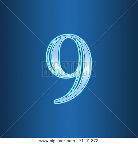 Glowing Neon Number On Blue Background. Letter 9 Nine