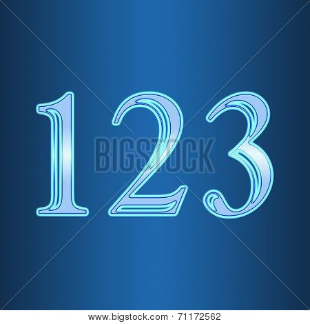 Glowing Neon Number On Blue Background. Letter 1 2 3 One, Two, Three