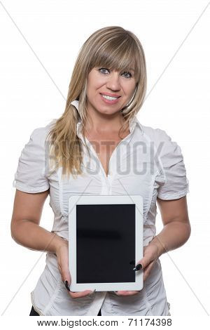 Woman Is Showing A Tablet