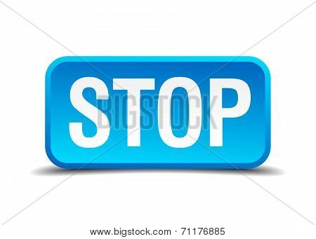Stop Blue 3D Realistic Square Isolated Button