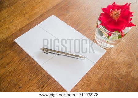 Love Letter Paper On Wooden Table