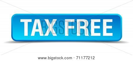 Tax Free Blue 3D Realistic Square Isolated Button