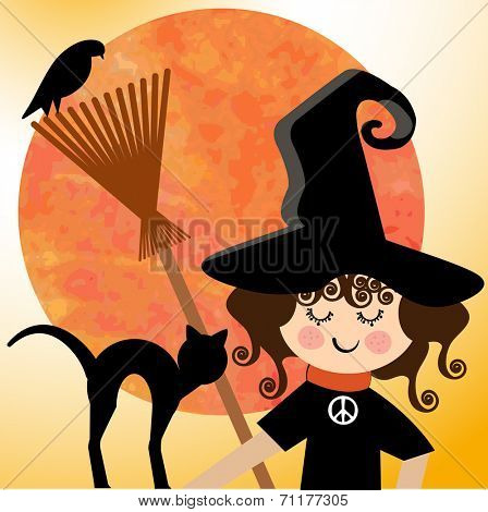 Sweet  witch with peace sign and pets  and spooky grunge moon