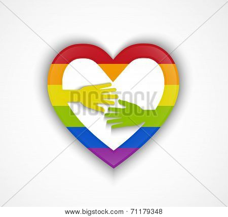 Heart Shape With Gay Flag And Two Hands - Gay Couple Concept