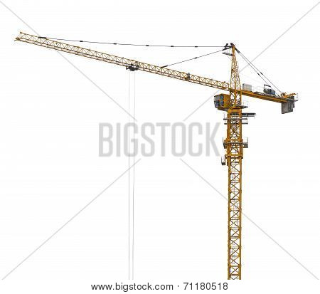 Yellow hoisting crane isolate