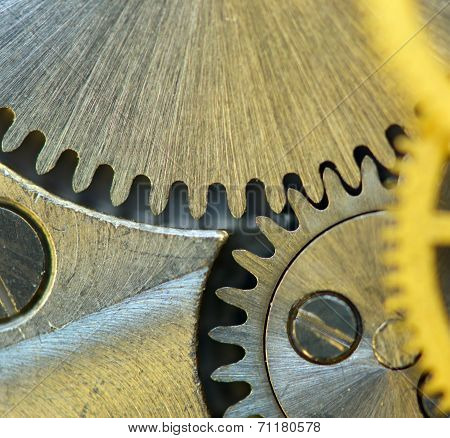 Background With Metal Cogwheels A Clockwork. Rather Unique Macro Photo, For Your Successful Business