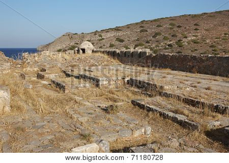 Spinalonga Leper Cemetery In Crete Near Elounda. Greece